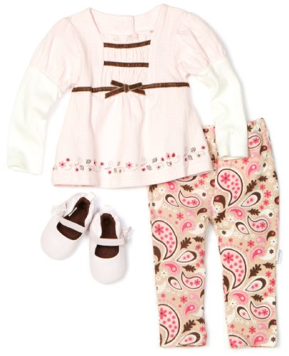 Vitamins Baby Girls Infant Paisley 3 Piece Pant Set with Shoe