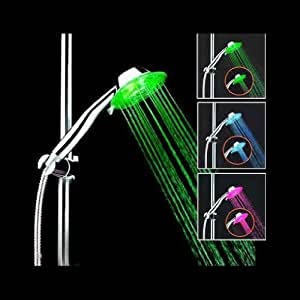 H:oter® 7 LED Colors Fading Shower Head, Bathroom Showerheads, No Battery