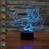Pet Cat 3D Lamp Optical Illusion Night Light, Gawell 7 Color Changing Touch Switch Table Desk Decoration Lamps Perfect Christmas Gift with Acrylic Flat & ABS Base & USB Cable Toy for Cat Lover