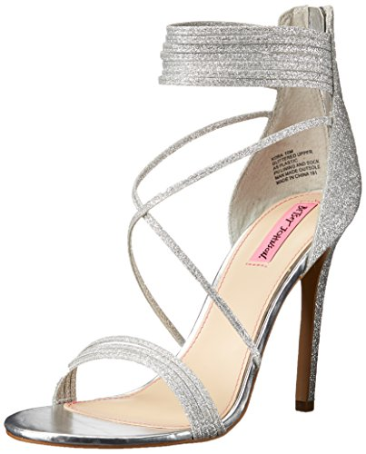 Blue by Betsey Johnson Women's KORA dress Sandal, Silver Glitter, 8 M US