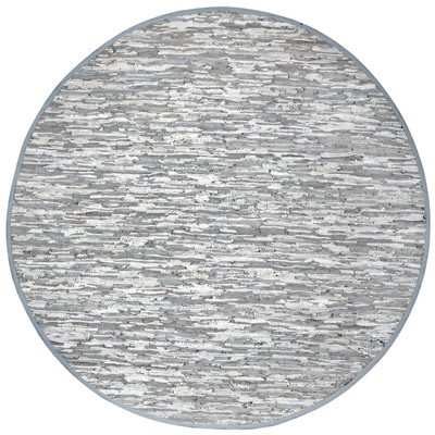 Matador Leather Chindi Round Rug, White, 6 by 6-Feet
