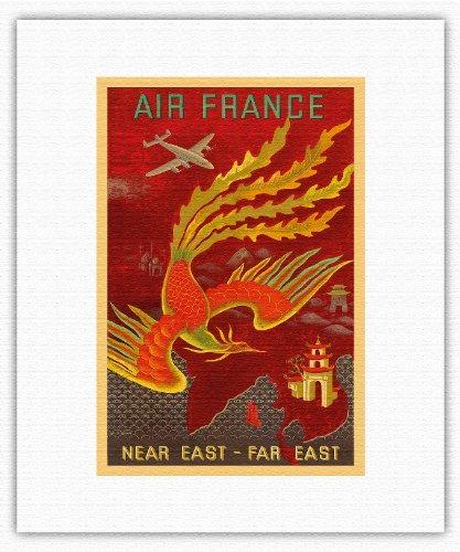 Near East, Far East - Lockheed Constellation flying to India, China and Japan, the Bird of Paradise countries - Air France - Vintage Airline Travel Poster by Lucien Boucher c.1946 - Fine Art Rolled Canvas Print - 11in x 14in Vintage Fine China Japan