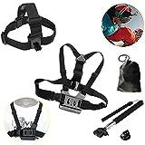 Joyoldelf Head Strap Mount + Chest Harness + Tripod Monopod + Adapter f. Gopro HD Hero 2 3