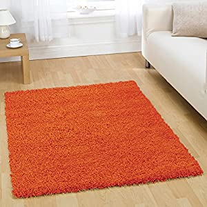 Flair Rugs Nordic Cariboo Shaggy Rug, Orange, 80 x 150 Cm from Flair Rugs