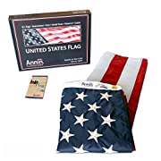 American Flag 3x5 ft. Nylon SolarGuard Nyl-Glo by Annin Flagmakers, 100% Made in USA with Sewn Stripes, Embroidered Stars and Brass Grommets.  Model 2460