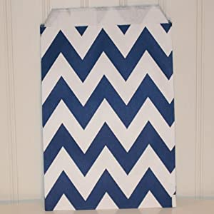 Chevron Stripe Navy Blue Food Treat & Favor Paper Bags 12 Pk 5X7 - Twilight Parties