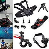 Joyoldelf 10-in-1 Professional Accessories Bundle Kit for Sony Action Cam HDR-AS15/AS20/AS30V/AS100V/Sony Action Cam HDR-AZ1 Mini Sony FDR-X1000V/W 4K Action Cam Cameras, Helmet Strap Mount + Adjustable Chest Belt Strap Mount + Adjustable Bike Handlebar