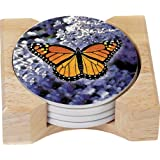 CounterArt Monarch Butterfly Design Round Absorbent Coasters In Wooden Holder, Set Of 4