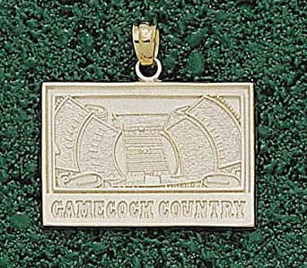 South Carolina Gamecocks Square Gamecocks Country Stadium Pendant - 14KT Gold Jewelry by Logo Art