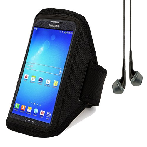 Sports Workout Armband For Samsung Galaxy Mega 6.3 / Mega 5.8 (Black) + Black Vangoddy Headphone With Mic