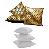 GOLDEN LEATHER BRICKS CUSHION WITH FILLERS 6 PCS SET (40 X 40 CMS)