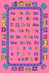 Kids Rug ABC Fun in Pink 3\' X 5\' Children Area Rug for Playroom & Nursery - Non Skid Gel Backing (39\