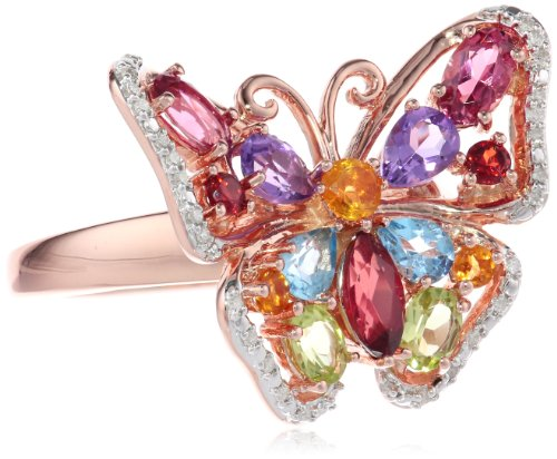 Sterling Silver with Pink Plating Multi-Color Butterfly Diamond Ring, Size 7