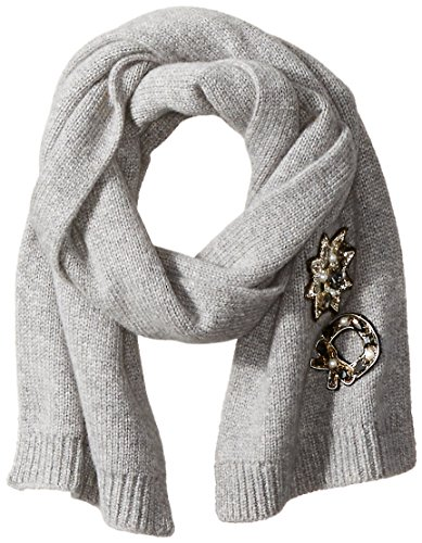 Marc-Jacobs-Womens-Embellished-Cashmere-Cold-Weather-Scarf-In-Grey