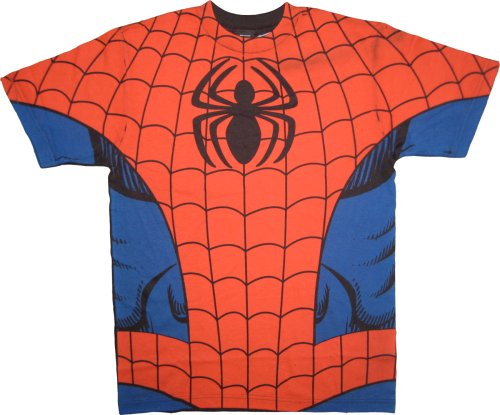 : Marvel Comics Spider-man Red/Blue Costume T-Shirt Tee