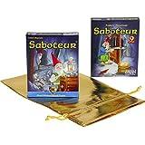 "Saboteur Card Game _ with ""Saboteur 2"" Expansion Deck _ Bonus Gold Metallic Drawstring Storage Pouch"