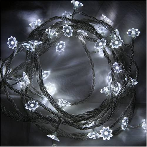 Fairy Lights - White LED Sunflower Lights 40 Bulb Indoor