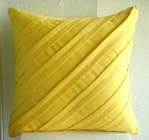 Contemporary Yellow - 26X26 Inches Square Decorative Throw Yellow Suede Euro Sham Covers With Pintucks front-437772