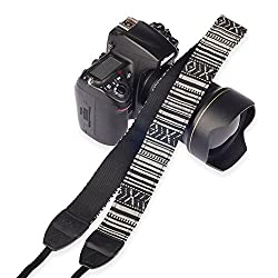 Eggsnow Camera Shoulder Neck Strap Vintage Anti-slip Belt for All DSLR Camera(Nikon Canon Sony Pentax etc) - Strip Black White