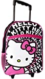 "16"" Hello Kitty Large Rolling Backpack ~ Black, White & Pink"