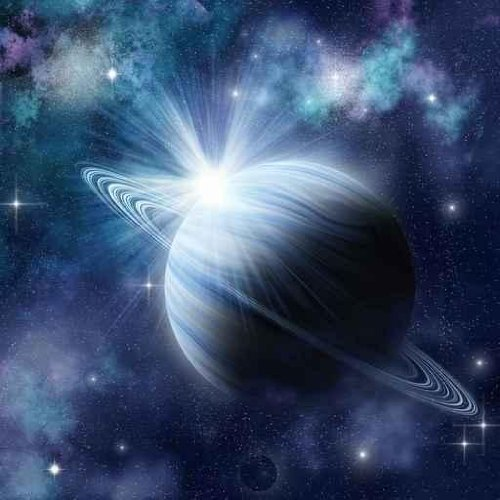 Blue Planet with Bright Star in Outer Space