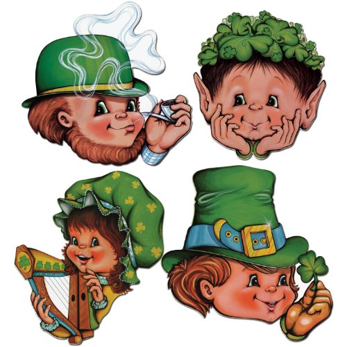 Beistle 33871 4-Pack St. Patrick Cutouts, 12-Inch