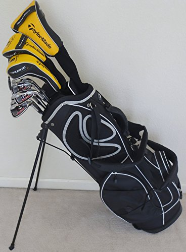 Mens Taylormade Stiff Flex Golf Set Complete Driver, Fairway Wood, Hybrid, Irons, Putter Clubs With Stand Bag Taylor Made
