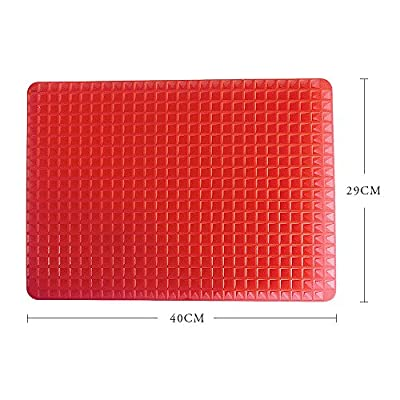 BOGZON Outdoor Silicone Heat-Resistant BBQ Mat/Baking Mat/Baking sheet - Multipurpose Bakeware/Ovenware/Pyramid Pan/Microwave ovenware, Red