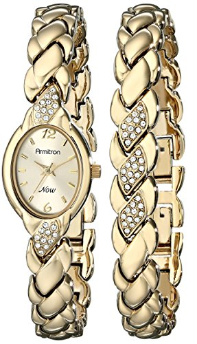 Armitron Armitron Women's 75/3901CHGPST Swarovski Crystal Accented Gold-Tone Bracelet and Watch Set