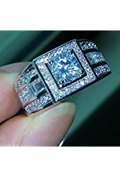 BigRose@ Men Topaz Simulated diamond 10KT White Gold Filled Wedding ring (10)