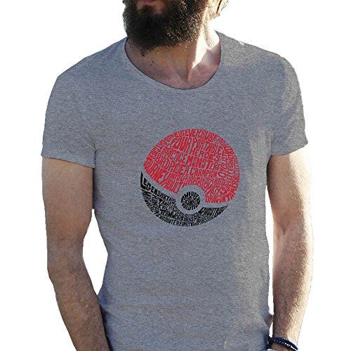 Poke-Ball-Pokemon-Go-Wordy-Gris-Camiseta-para-hombre-Large