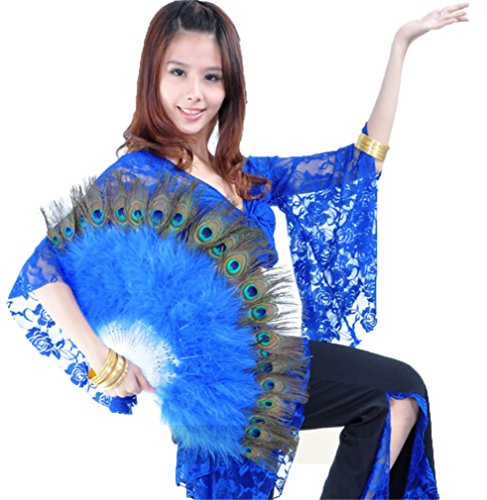 Belly Dance Peacock Feather Fan Dreamspell® Belly Dance Accessories Hand Fan
