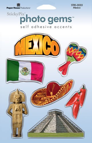 Paper House Travel Resin Stickers, Mexico - 1