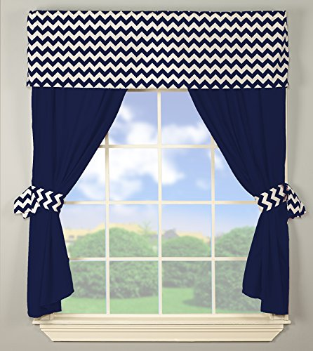 Baby Doll Baby Doll Chevron Window Valance and Curtain Set, Navy