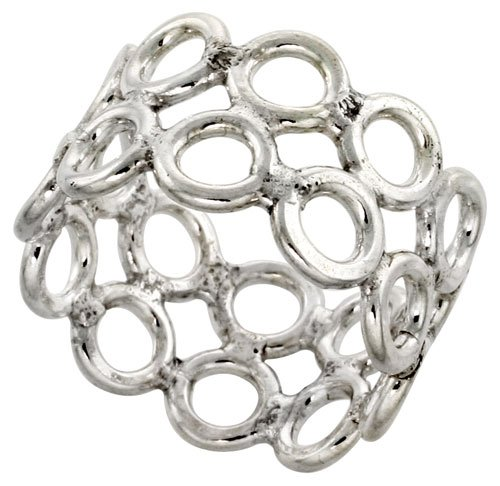 Sterling Silver 19 mm Southwest Design 2-rows of Circles Ring 3/4 inch wide, size 7