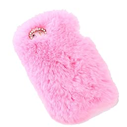 iPhone 5S Case, Firefish Extreme Luxury Bling 3D Diamond Crysta Mini Bowknot Soft Snug Slim Fur Case Cover Skin for Apple iPhone 5/5S+ Premium Stylus -Light pink