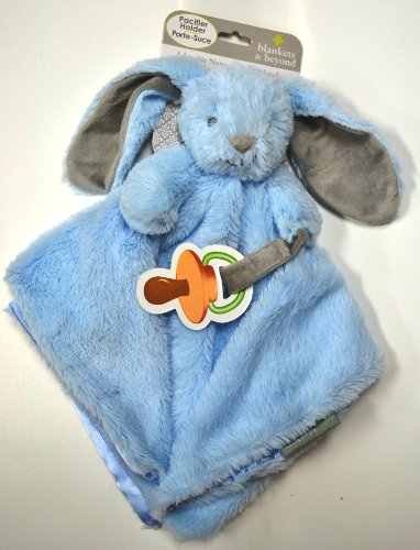 "Nunu Blankets & Beyond Blue Plush Bunny Security Blanket Pacifier Holder 15"" X 15"" - 1"