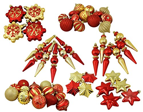 57ct Red and Gold 3-Finish Shatterproof Christmas Ornaments