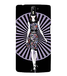 GIRL IN FLORAL DRESS WITH A BLACK BACKGROUND 3D Hard Polycarbonate Designer Back Case Cover for One Plus One :: One Plus1 :: OnePlus One