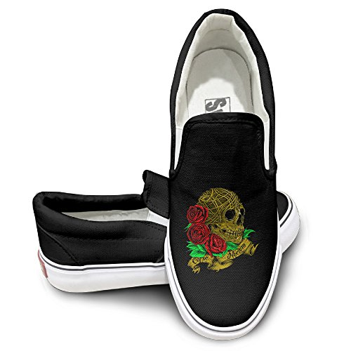[OOONG Sugar Skull Roses Day Of The Dead Casual Slip On Canvas Shoes Flats] (Michael Jackson Black Or White Costume)