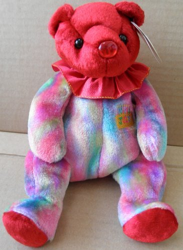 1 X TY Beanie Babies Ruby July Birthday Bear Plush Toy Stuffed Animal