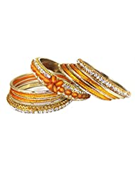 Heavy Shining Golden Bangles Set With Imitation Stones Jewelry For Your Modish Look
