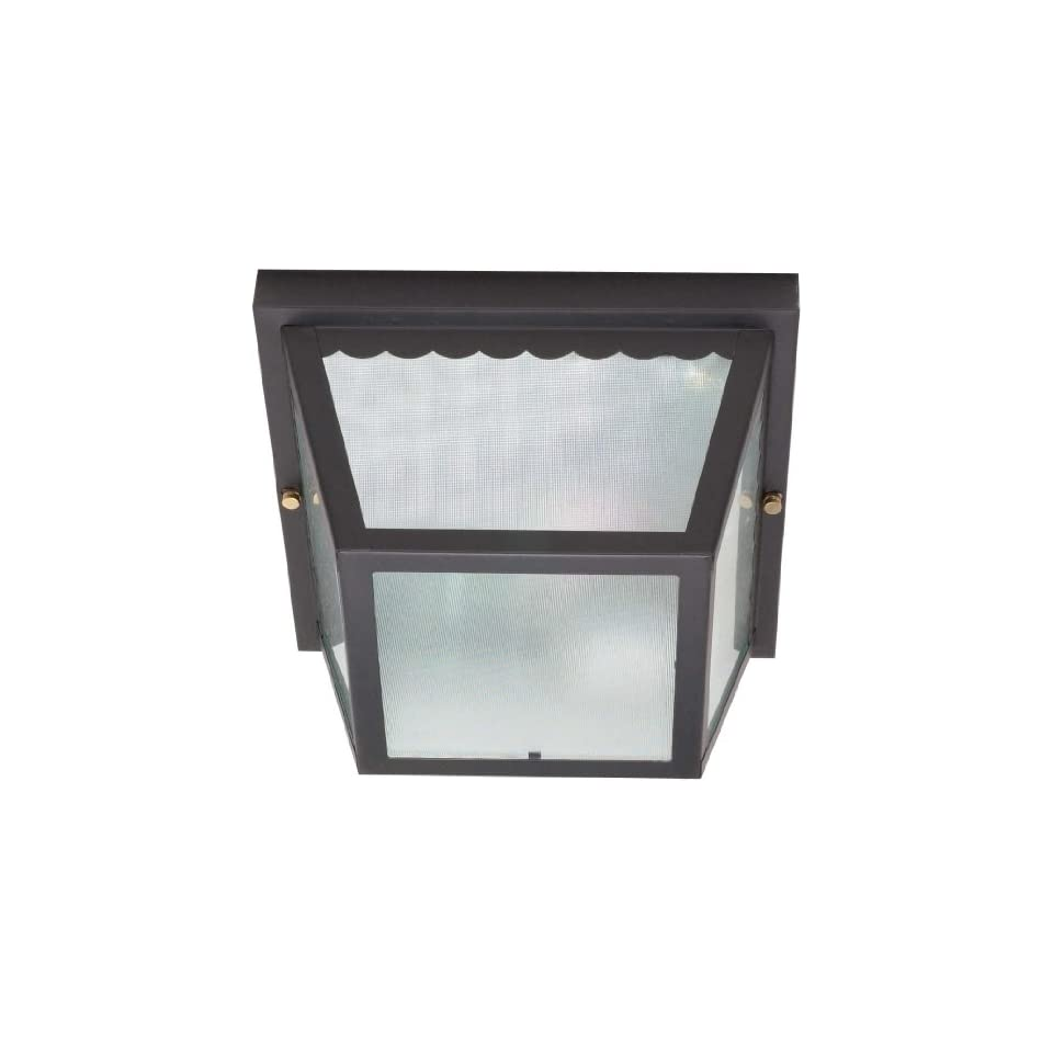 Nuvo 60/473 Metal Frame Carport Flush Mount with Textured Frosted Glass, Black
