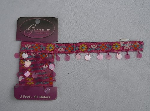 Glam It Up Beaded Trim Hot Pink Multi Floral Braid With Beads and Sequins 3 Feet