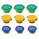 Permanently Attached Munchkin Three Convenient Sized Stay Put 3-Pack Suction Bowl - 9 Pack