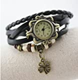 Domire Quartz Stylish Weave WRAP Around Leather Bracelet Lady Woman Wrist Watch