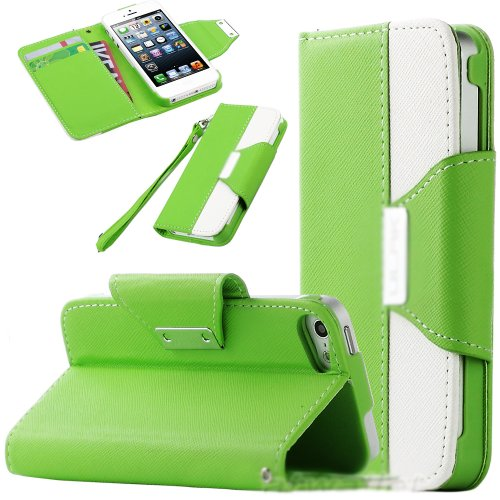 Mylife Bright Green And White Fashion Design - Textured Koskin Faux Leather (Card And Id Holder + Magnetic Detachable Closing) Slim Wallet For Iphone 5/5S (5G) 5Th Generation Itouch Smartphone By Apple (External Rugged Synthetic Leather With Magnetic Clip