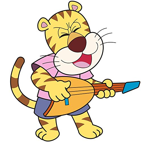 Cartoon Tiger Playing An Electric Guitar Wall Decal - 24 Inches H X 24 Inches W - Peel And Stick Removable Graphic