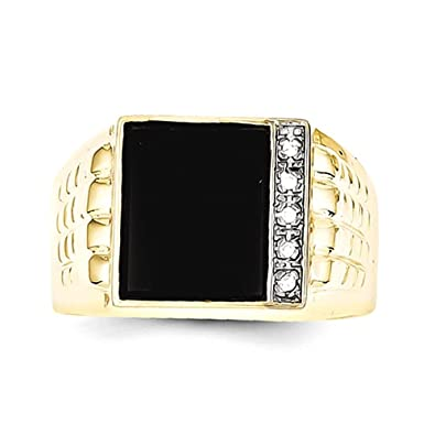 10k Onyx & .03ct Diamond Men's Ring