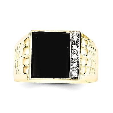 10k Onyx & .03ct Diamond Men's Ring